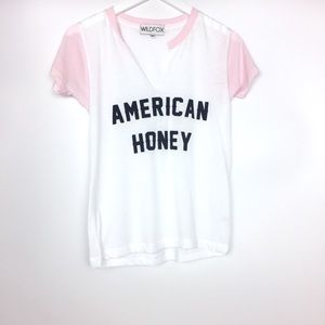 Wildfox American Honey T-Shirt XS Woody Tee Pink